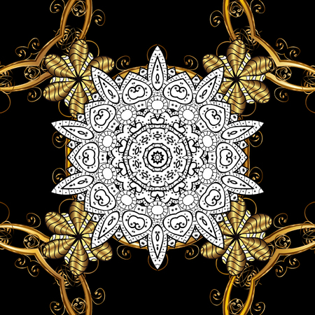 solemn: Golden pattern on black background with golden elements. Ornate decoration. Vector vintage baroque floral pattern in gold. Luxury, royal and Victorian concept.