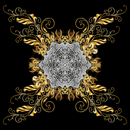 drapes: Royal luxury golden baroque damask vintage. Vector pattern background sketch with gold antique floral medieval decorative flowers, leaves and gold pattern ornaments on black background.