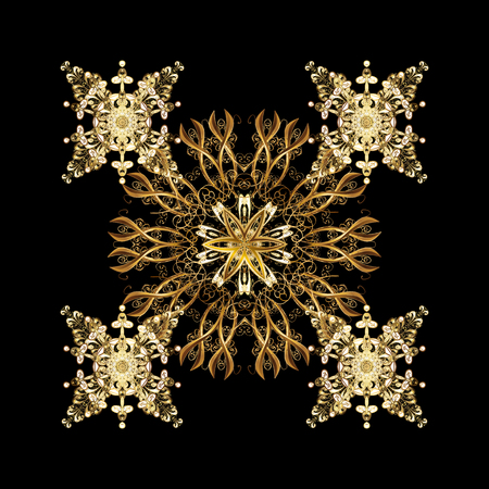 Golden snowflakes winter New Year frame. Vector isolated ornament in golden colors on black background. Illustration