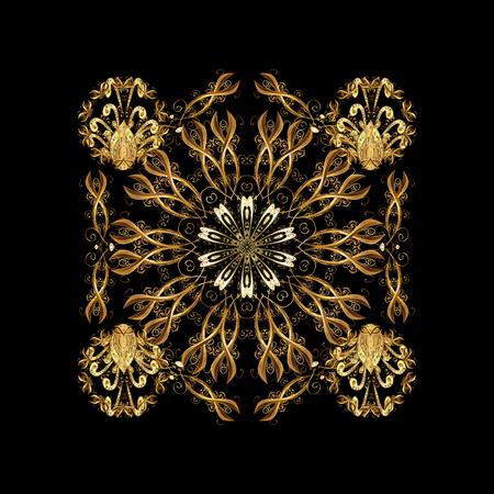 Samenvatting geïsoleerd met bloemenelementen. Vector winter sieraad. Geïsoleerd ontwerp op zwarte achtergrond in gouden kleuren.