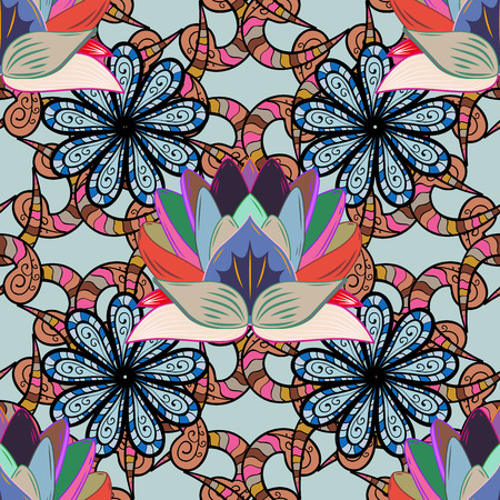 ethno: Vector abstract flower background. Pretty floral print with small flowers. Motley seamless pattern. Illustration