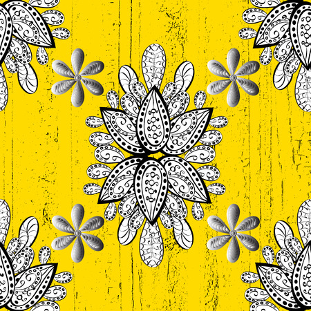 baroque border: Damask classic white and golden pattern. Vector abstract background with repeating elements. Golden pattern on yellow background with golden elements. Illustration