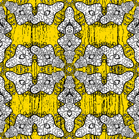 baroque border: Vector background. Floral pattern. White elements on yellow background. Stylish graphic pattern. Sketch baroque, damask.