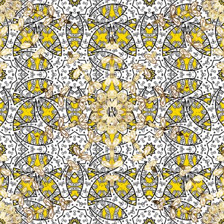 attern: Golden textured curls. Oriental style arabesques. Vector golden pattern. ?attern on yellow background with golden elements. Illustration