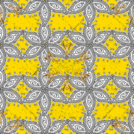 Vector illustration. Vintage pattern on a yellow background with golden elements.