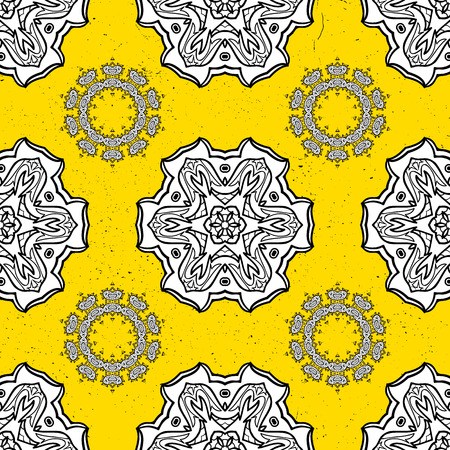 Damask pattern repeating background. White yellow floral ornament in baroque style. Antique white repeatable sketch.White element on yellow background.