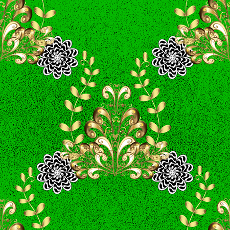 tillable: Traditional orient ornament. Classic vintage background. Classic vector golden pattern. Pattern on green background with golden elements.