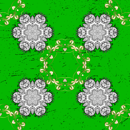Good for greeting card for birthday, invitation or banner. Gold on green background. Pattern medieval floral royal pattern. Vector illustration. Decorative symmetry arabesque. Illustration