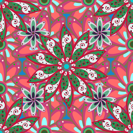 modish: Abstract vector seamless pattern flower design in colors. Floral seamless pattern with watercolor effect. Textile print for bed linen, jacket, package design, fabric and fashion concepts.
