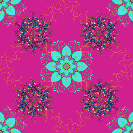 Ditsy Vector illustration with many colorful flowers. Trendy seamless floral pattern.