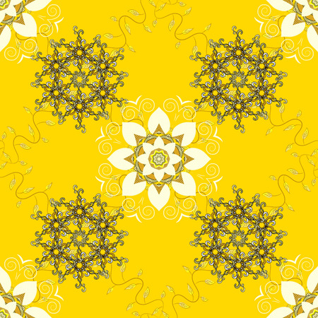 Yellow Vector abstract floral background. Seamless pattern with many small colorful flowers. Seamless floral pattern. Illustration