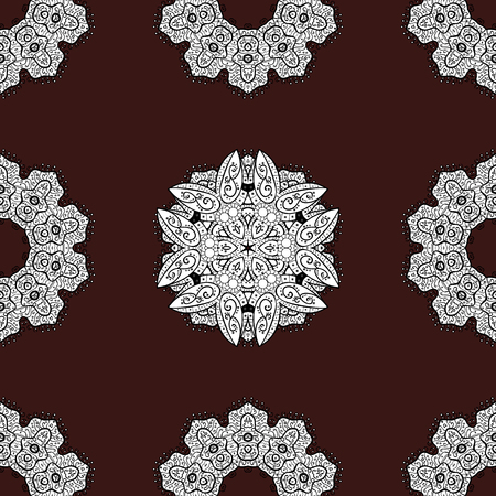 Vector vintage baroque floral seamless pattern in light. Ornate decoration. Luxury, royal and Victorian concept. White pattern on a brown background with white elements.
