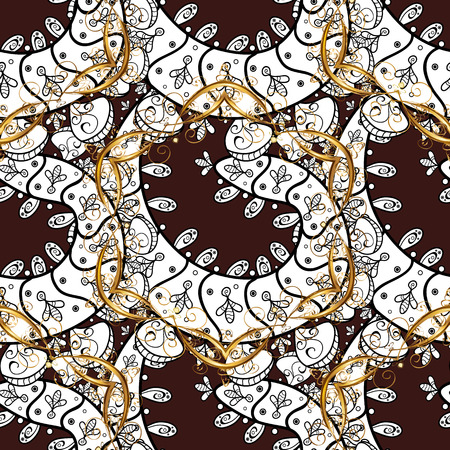 baroque border: Seamless pattern with golden elements. Illustration