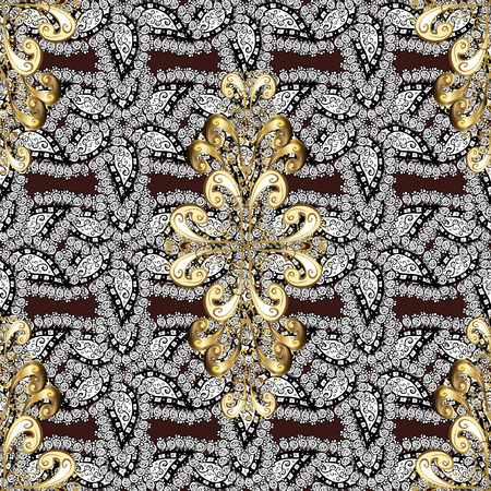 baroque border: Golden element on brown background. Antique golden repeatable sketch. Golden brown floral ornament in baroque style. Damask seamless pattern repeating background.