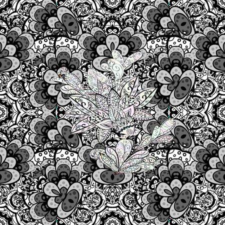 baroque border: Vector geometric background. Golden color seamless illustration. For your design, sketch. Golden seamless pattern on background with white floral elements. Illustration