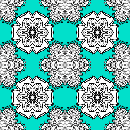 modish: Traditional orient ornament. White pattern on blue background with white elements. Classic vintage background. Seamless classic vector white pattern. Illustration