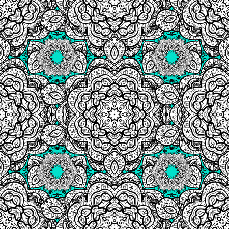 baroque border: Vector seamless pattern on blue background with white elements. Damask seamless pattern for design.