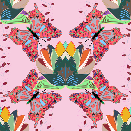 modish: Vector illustration with many pink flowers. Trendy seamless floral pattern.