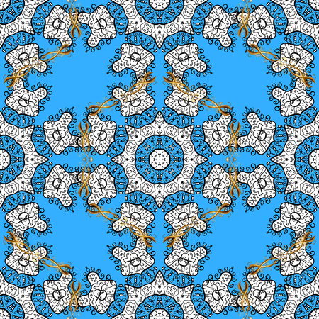 gold leafs: Traditional classic golden vector pattern on blue background with golden elements. Seamless oriental ornament in the style of baroque. Illustration