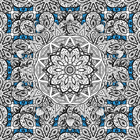 old style: Blue seamless pattern. Abstract geometric floral seamless background. Tribal ethnic ornate decoration, lace repeating texture. Vector doodle sketch pattern, graphic illustration. Blue background.