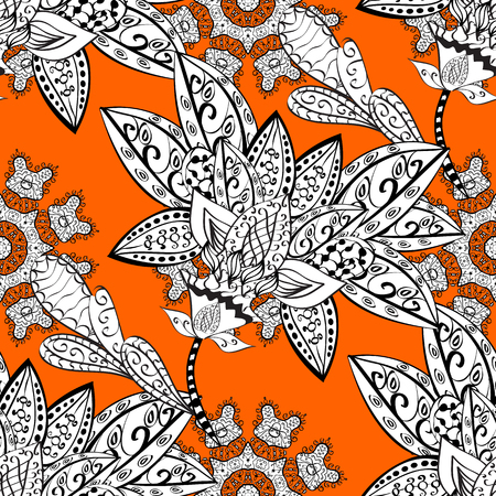 Seamless oriental ornament in the style of baroque. Traditional classic vector white seamless pattern. Golden elements on orange background.