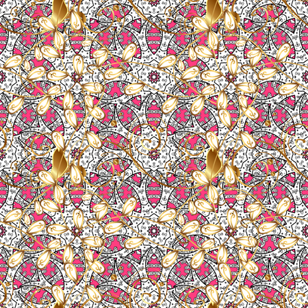 Seamless oriental ornament in the style of baroque. Traditional classic golden pattern. Vector oriental ornament. Golden pattern on pink background with golden elements.