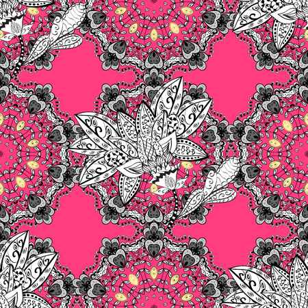 Classic vector seamless pattern. Floral ornament brocade textile pattern, glass, with floral pattern on pink background with white elements. Illustration