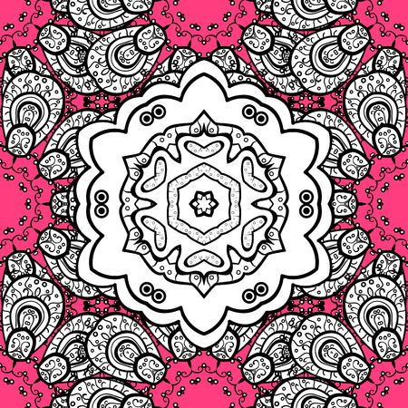 Damask seamless pattern repeating pattern. Golden floral ornament in baroque style. Antique white repeatable sketch. Golden element on pink background.