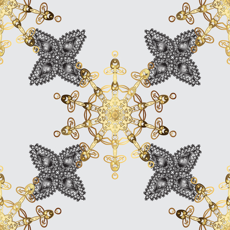 Vector golden floral ornament brocade textile pattern, white doodles. Seamless golden pattern. Gray background with golden elements. Metal with floral pattern.