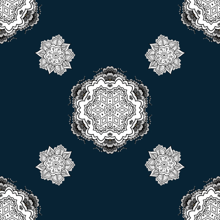Seamless white pattern. Vector oriental ornament. Whiteen pattern on black background with white elements. Illustration