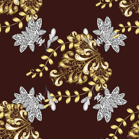 Traditional classic vector golden seamless pattern. Brown background with golden elements. Seamless oriental ornament in the style of baroque.