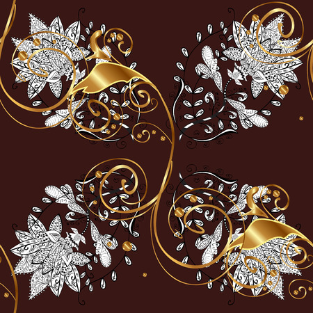Seamless classic vector golden pattern. Floral ornament brocade textile pattern, glass, metal with floral pattern on brown background with golden elements.