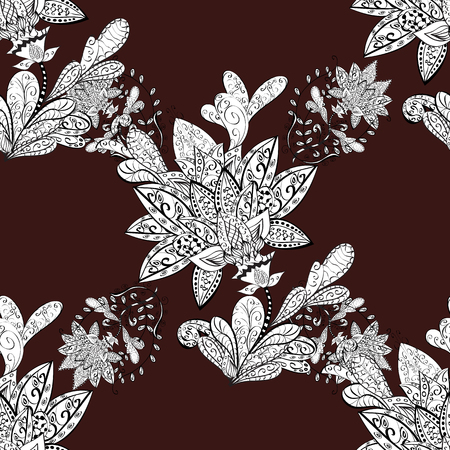 Pattern on brown background. Vector white mehndi seamless pattern. Ornamental floral elements with henna tattoo, white stickers, mehndi and yoga design, cards and prints. Illustration