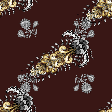 baroque border: Brilliant lace, stylized flowers, paisley. Seamless pattern on brown background with golden elements. Openwork delicate golden pattern. Vector oriental style arabesques. Seamless golden texture curls.