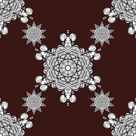 Seamless classic vector white pattern. Vector illustration. Classic vintage background. Traditional orient ornament. Seamless pattern on brown background with white elements.