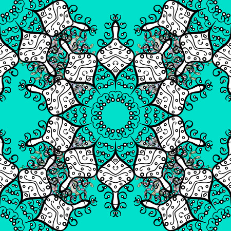 modish: Stylish graphic pattern. Sketch baroque, damask. Floral pattern. White elements on blue background. Seamless vector background.
