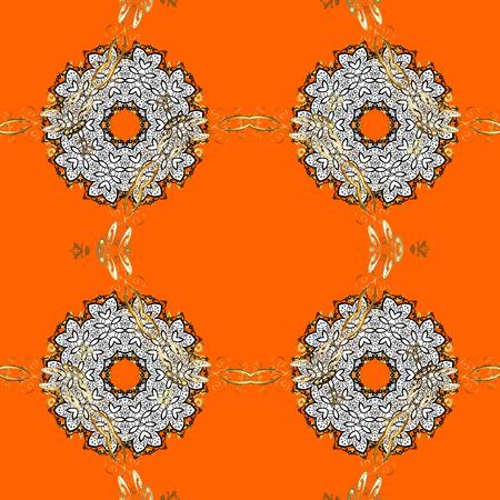 drapes: Damask golden floral pattern on a orange background with white doodles. Ornate decoration. Vector illustration.