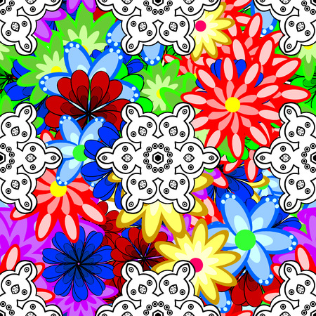 etnia: Seamless floral pattern can be used for sketch, website background, wrapping paper. Leaf natural pattern in colors. Summer design. Vector flower concept.