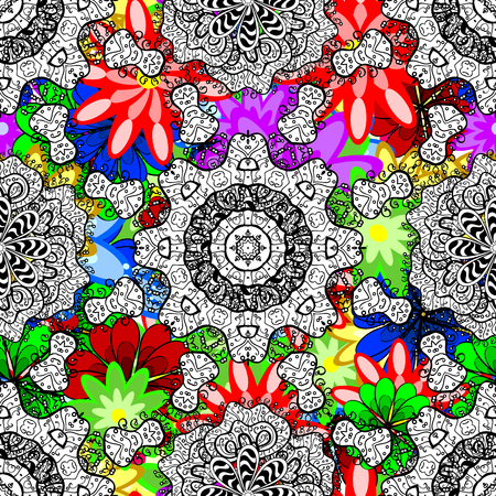 Hand drawn floral texture, decorative flowers. Vector seamless colorful floral pattern.