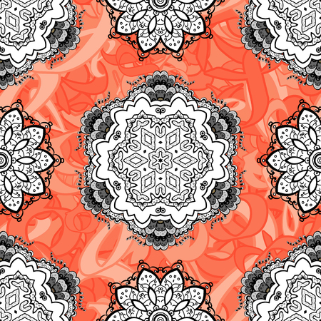 Vintage baroque floral seamless pattern in white over. Ornate vector decoration. Luxury, royal and Victorian concept. Golden element on background.