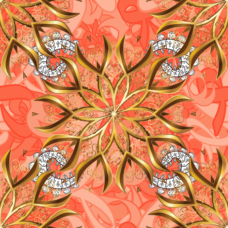 Golden outline floral decor. Vector line art seamless border for design template. Golden element on background. Eastern style element. Vector sketch for invitations, cards, certificate, web page