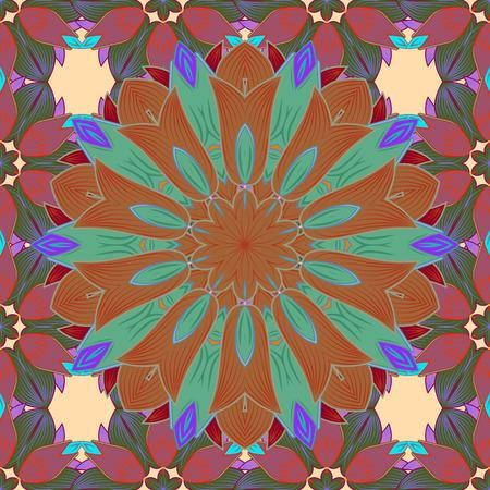 East, Islam. Mandala colored background. Arabic Vintage decorative ornament. Vector Mandala pattern on colorful background.