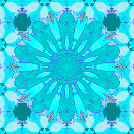 Pattern with abstract art flower for Tibetan yoga. Bohemian decorative element.