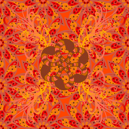 Colored mandala pattern, Arabic background. Ethnic texture. Vintage decorative ornament on red background.