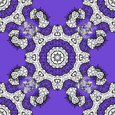 intertwined: White pattern on violet background with white elements. Vector oriental ornament.