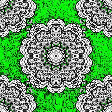 Vector oriental ornament. White pattern on green background with white elements. White pattern.