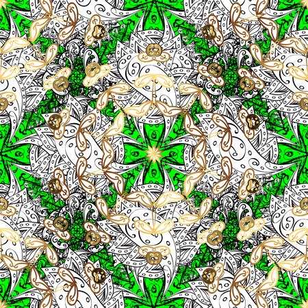 Golden pattern on green background with golden elements. Golden pattern. Vector oriental ornament.