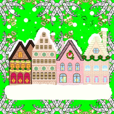Holidays Vector illustration. Evening city winter landscape with snow cove houses and christmas tree.