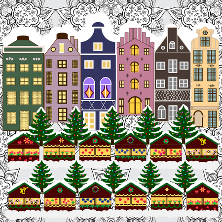 rejoice: Cityscape. Cute town Christmas eve. Winter in the city, christmas decor fir-trees. New year holidays. Vector. Winter nature landscape. Greeting card, poster design. Vector. Winter houses, road, tree. Illustration