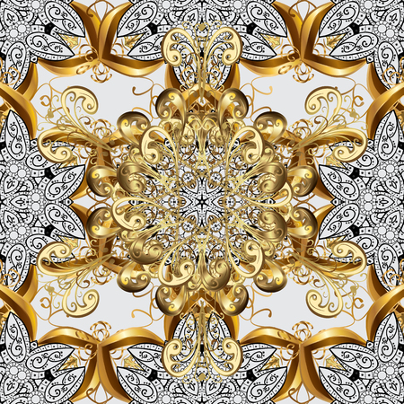 baroque border: Damask seamless pattern for design. Vector seamless pattern on gray background with golden elements and with white doodles. Vector illustration.